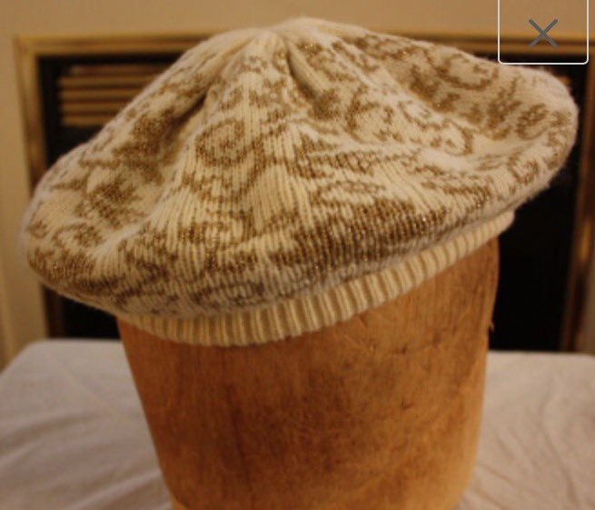 Vintage Off-White and Gold Women's Knit Beret by EmmasAtticTreasures  via @Etsy #Beret #Womens #Knit #OffWhiteAndGold