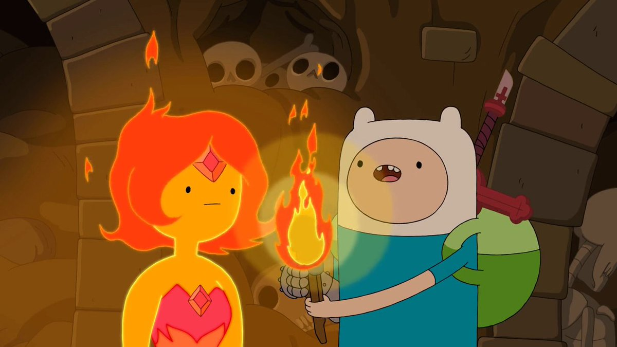 "Finn decides to take Flame Princess to a nearby dungeon to prove that she isn't evil that her dad, the Flame King, kept spewing on to her, but begins to have doubts about her being completely good in ""Vault of Bones"", aired 8 Years Ago. #AdventureTime #DayInFandomHistory"