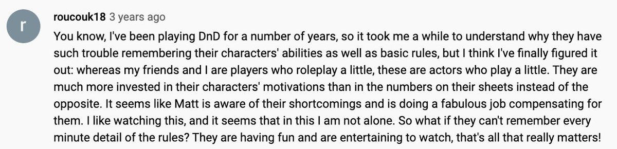 in light of all the cr discourse today, i saw this delightful little comment about the crew's play style on the ep i'm watching in vm and wanted to share