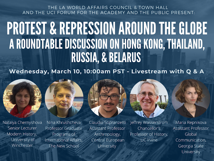 Save the date: March 10, a panel discussion on protest and repression in Hong Kong, Thailand, Russia and Belarus, hosted by @lawacthevents and co-sponsored by @uciforum1 @wendemuseum & @CEUDemInst