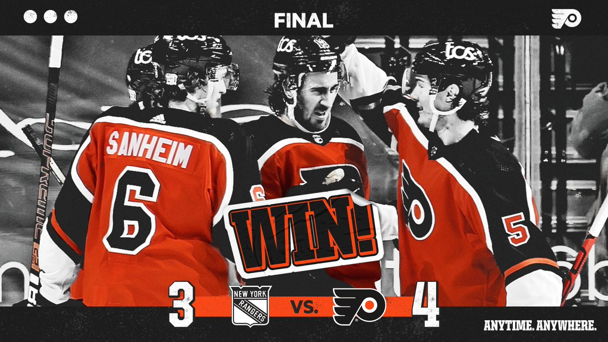 Replying to @NHLFlyers: 🔶 FLYERS WIN 🔶  Back in the Philly groove.  #AnytimeAnywhere   #NYRvsPHI