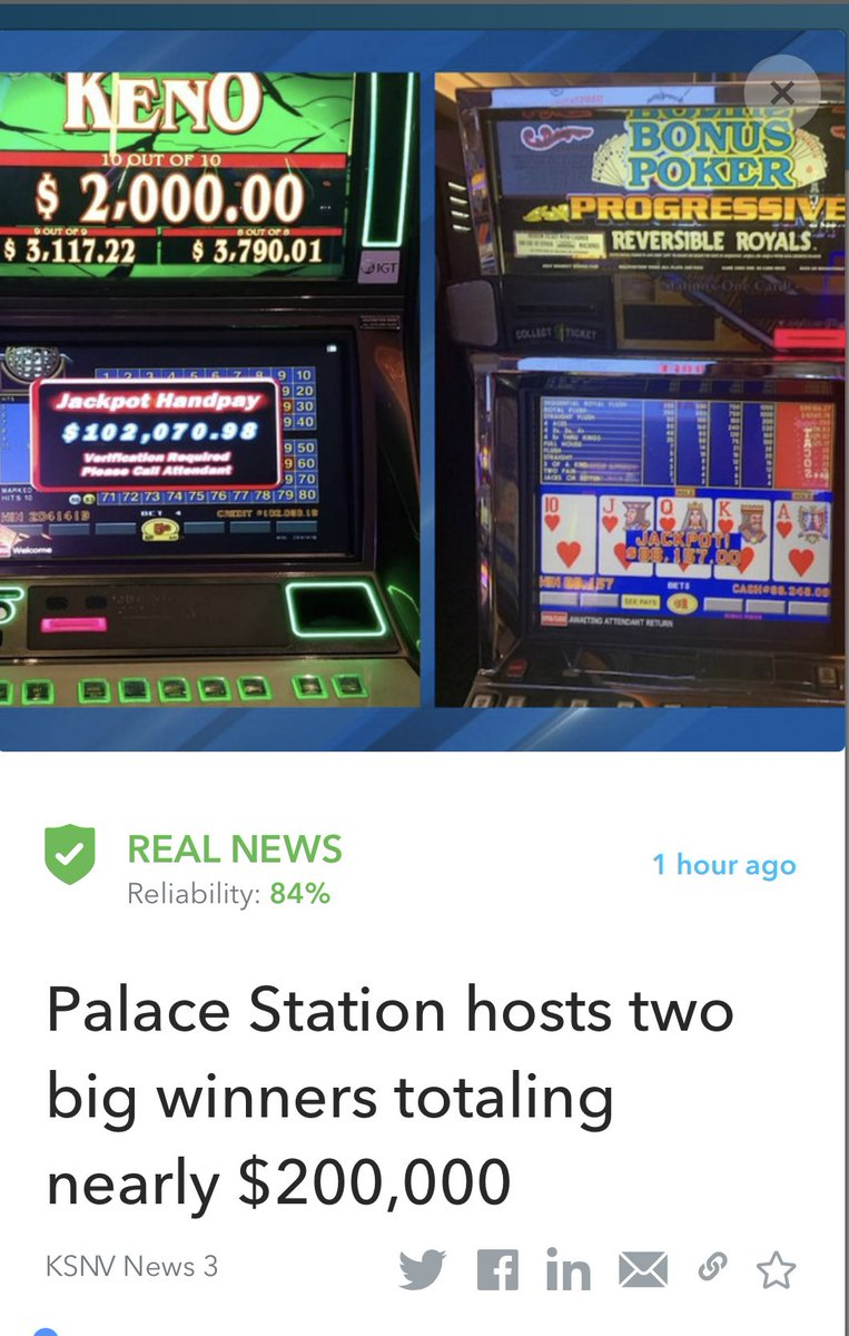 Palace Station hosted two lucky jackpot winners Wednesday. The first hit a 10 out of 10 Keno Jackpot off of a $20 bet which pulled the bettor a nice $102,070. 98.  Read more:   This article was fact-checked by Oigetit✅  #lottery #WinningWednesday