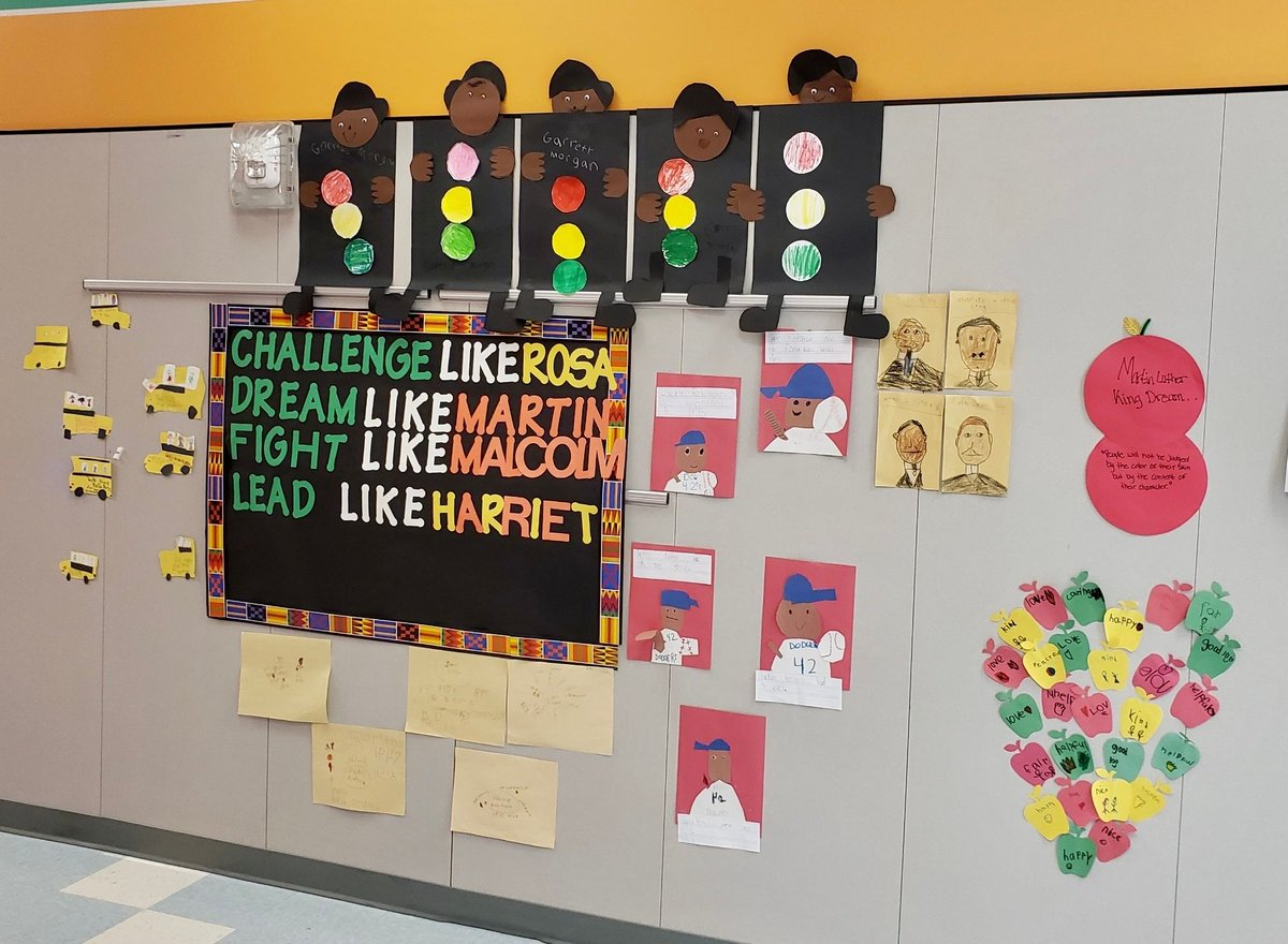 So proud of our kindergarten research wall for  #BlackHistoryMonth with positive impacts to make our world a better place!!   #JaguarPride #PawsUp 🐾