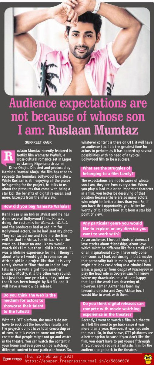 Audience expectations are not because of whose son I am: @ruslaanmumtaz   By @gurpreet_kaur24
