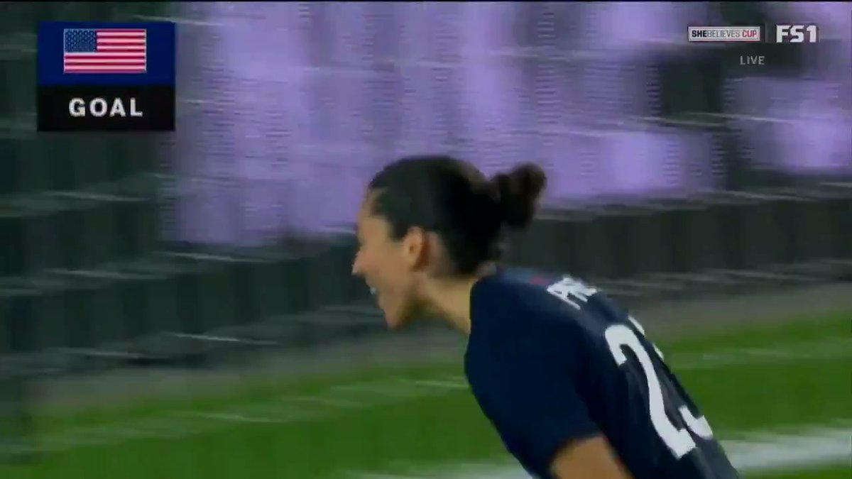 Header or golazo, you gotta love when CP23 scores 🔥  @ChristenPress made it goals in back-to-back games with her goal in the 88th minute!