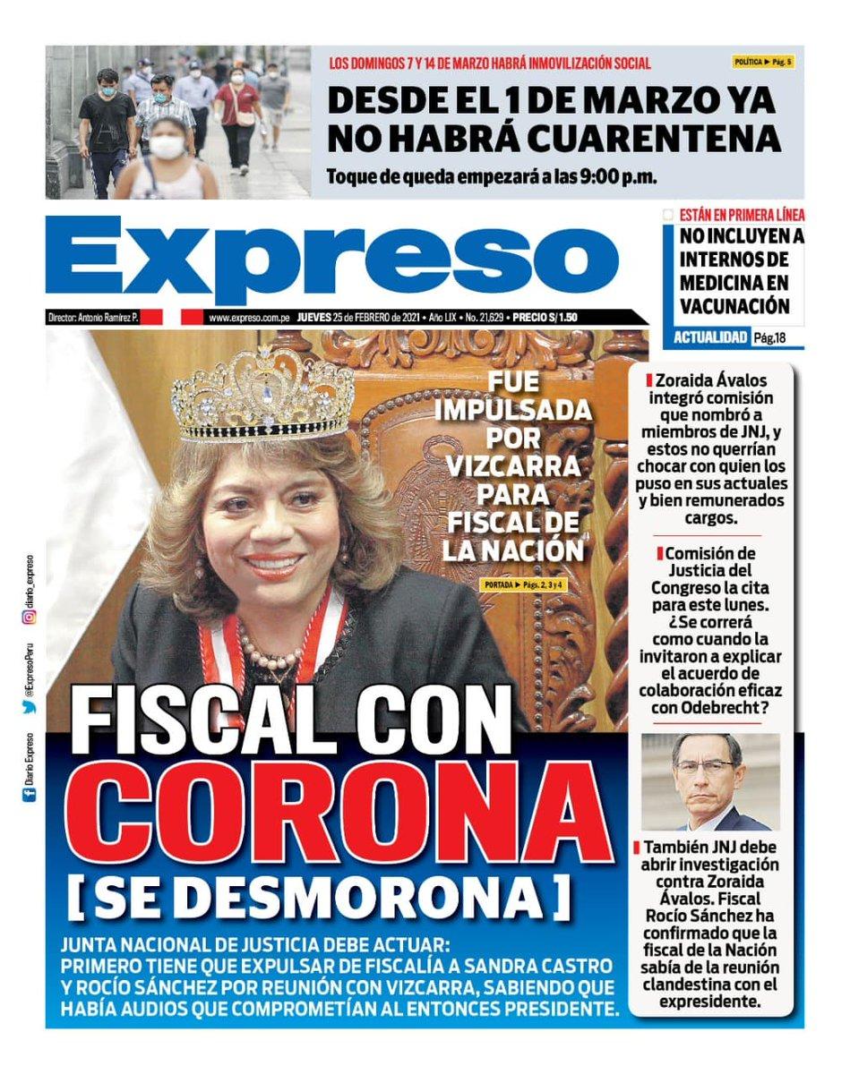 """Diario Expreso on Twitter: """"🗞¡Esta es la portada del Diario Expreso para este jueves 25 de febrero del 2021!… """""""