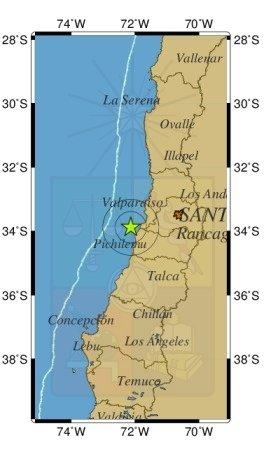 Informe de sismo  Hipocentro  Hora Local23:51:30 24/02/2021 Hora UTC02:51:30 25/02/2021 Latitud-33.879 Longitud-72.130 Profundidad24.1 Km Magnitud 3.6 Ml GUC Referencia29 km al O de Navidad
