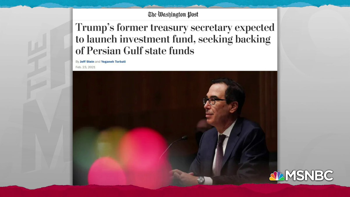 """""""...his planned investment effort, coming so soon after leaving office, raises concerns over whether Trump administration policy was influenced by Mnuchin's future pursuits...""""  Yeah... y'think?"""