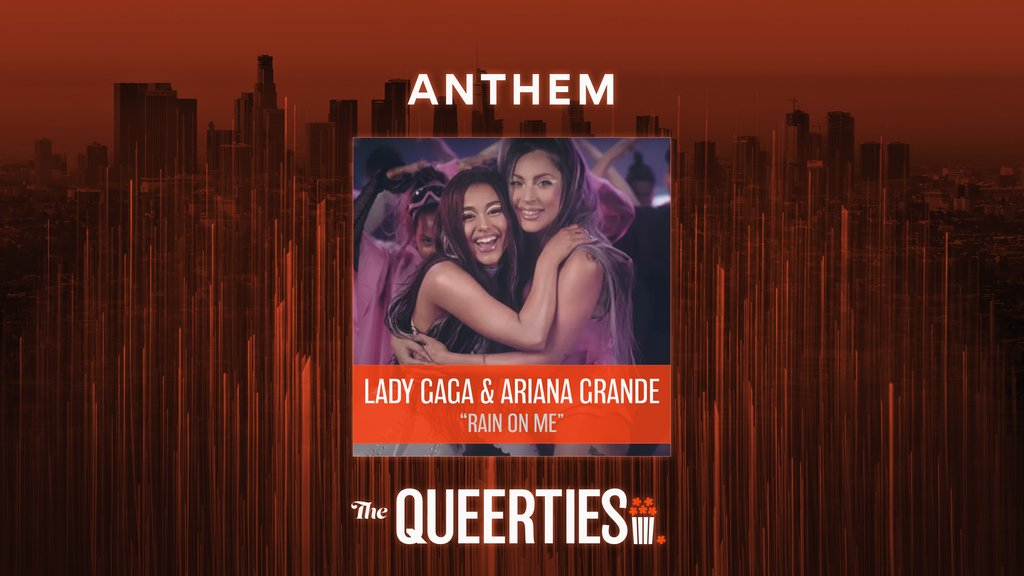 "Congratulations to @ladygaga and @ArianaGrande, winners of ""Anthem"" at the #Queerties for ""Rain On Me.""  Watch the full show here:"