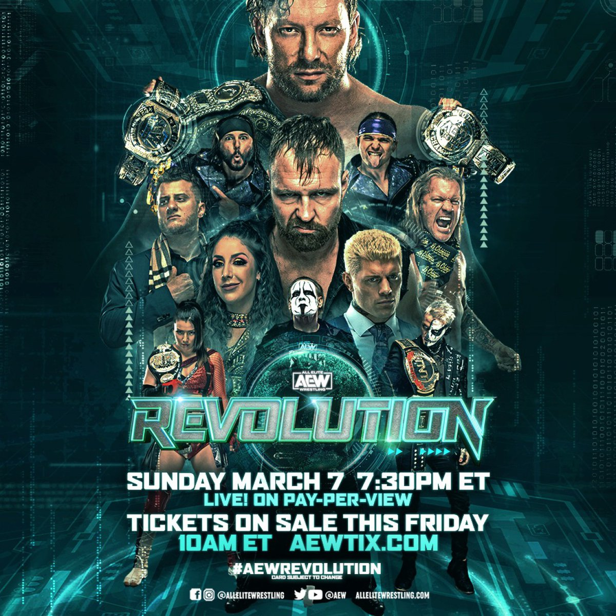 Tickets for AEWs return to PPV#AEWRevolution Sunday, March 7 live from #dailysplace headlined by the Exploding Barbed Wire Death Match for the AEW World Title w/ Kenny Omega facing Jon Moxley, go on-sale THIS FRIDAY at 10am EST starting at $40! Get tix at AEWTIX.com