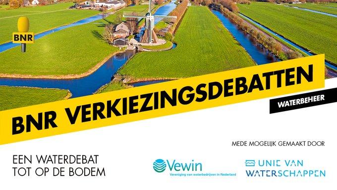 𝗟𝘂𝗶𝘀𝘁𝗲𝗿 𝗻𝗮𝗮𝗿 𝗵𝗲𝘁 𝗩𝗲𝗿𝗸𝗶𝗲𝘇𝗶𝗻𝗴𝘀𝗱𝗲𝗯𝗮𝘁 𝗪𝗮𝘁𝗲𝗿! 📻 1 maart / 19:00 / @BNR  Droogte, hoosbuien, verspilling, vervuiling; we zullen anders om moeten leren gaan met water. Hoe zien kandidaat-Kamerleden dit? Luister naar het Verkiezingsdebat Water. #TK2021
