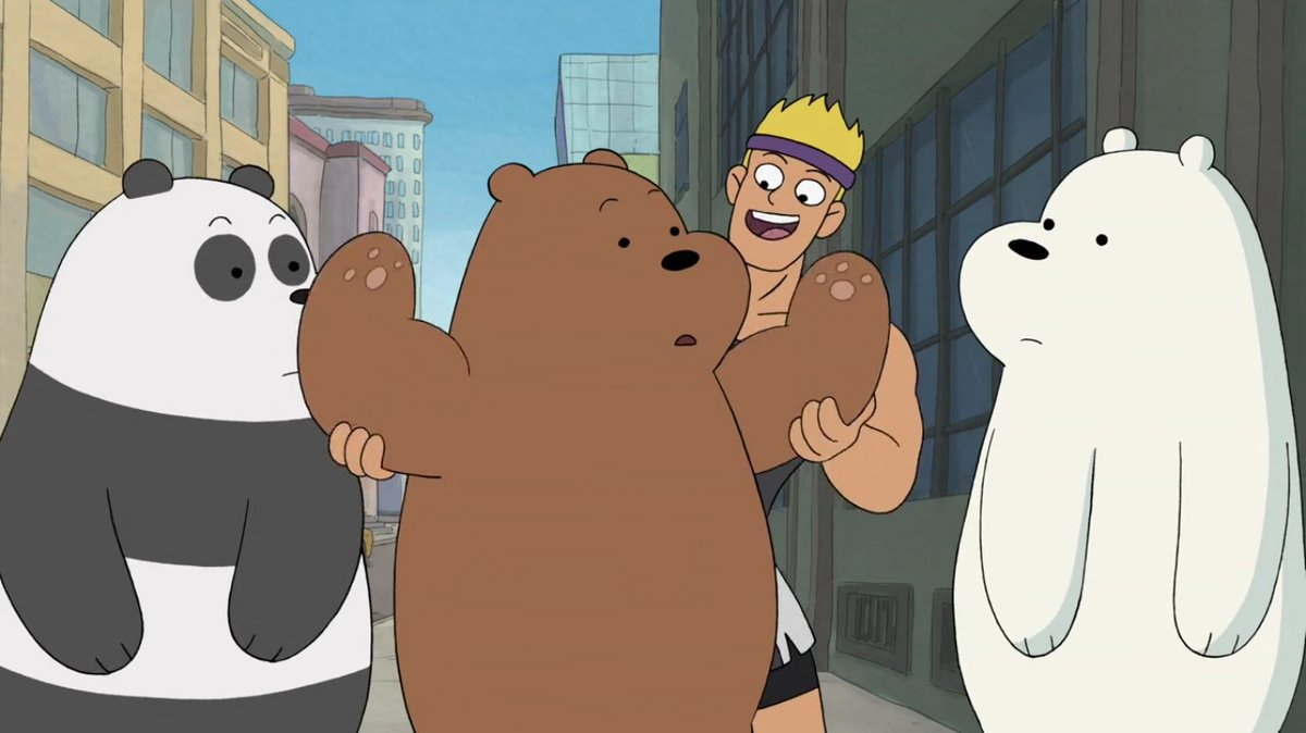 "After unsuccessfully trying to lift a used couch that they found online due to not having upper body strength, an owner of a gym invites Grizz, Panda, and Ice Bear to get a proper workout that they all need in ""The Gym"", aired 2 Years Ago. #WeBareBears #DayInFandomHistory"
