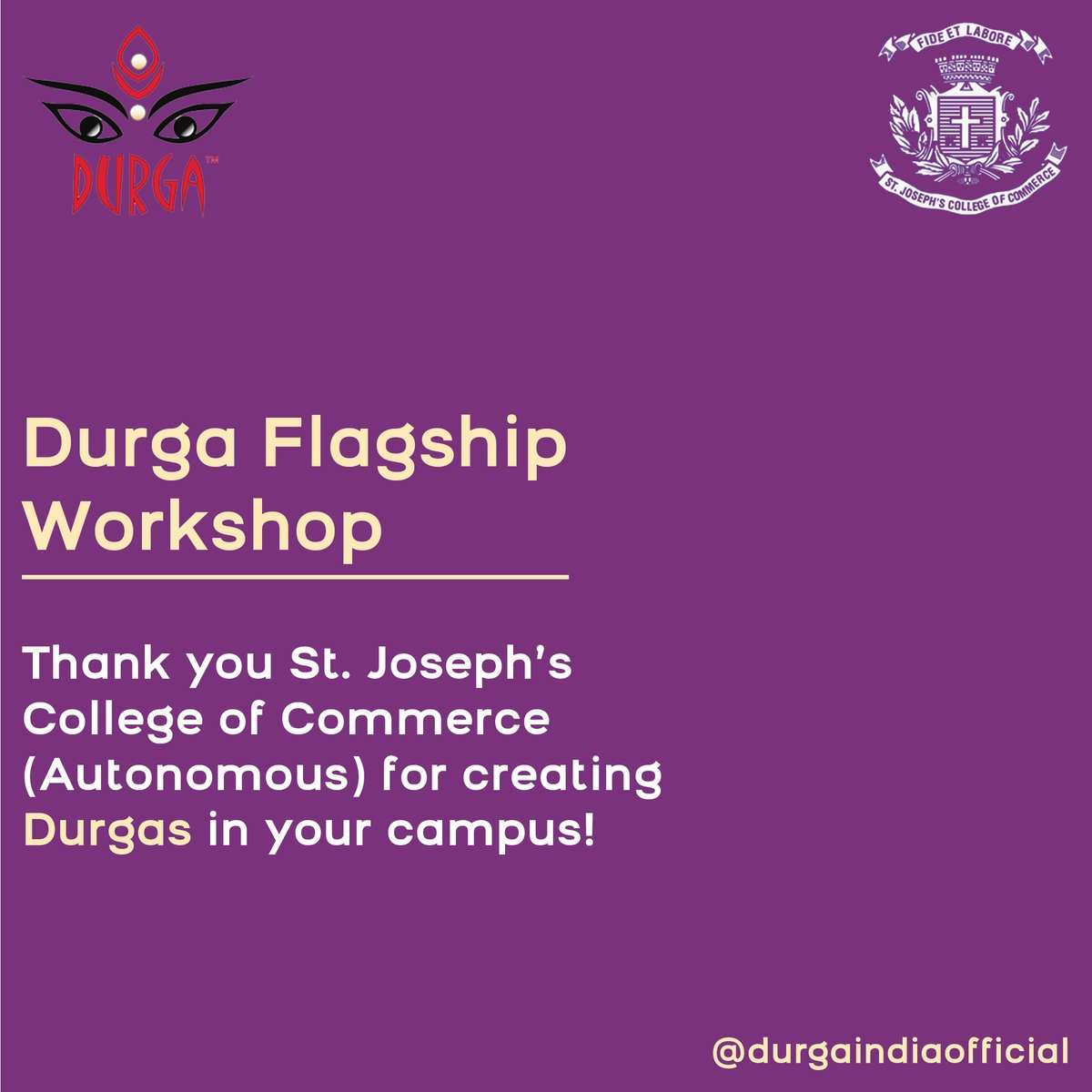 We were delighted to conduct the Durga Flagship Safety workshop for students of St. Joseph's College of Commerce (Autonomous) @sjccblr.  Write to us at contactus@durgaindia.org and get a Durga Safety workshop organized in your campus.  #safety  #ActNow  #harassment
