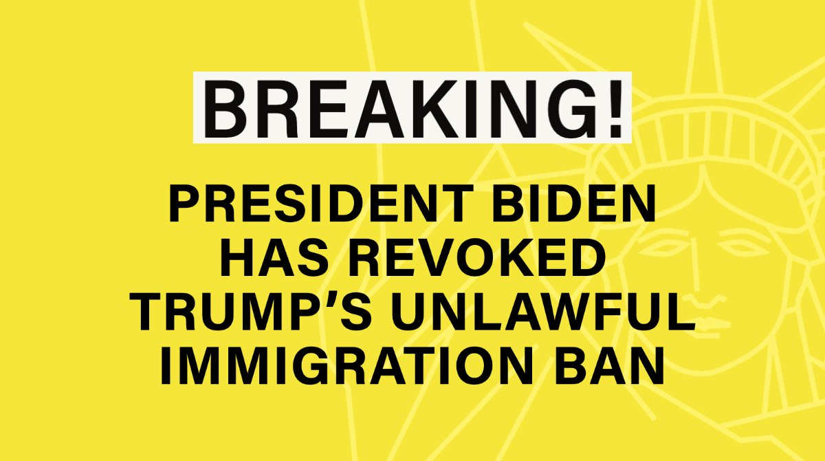 NIJC:RT @jactioncenter: #BREAKING: Today the Biden administration revoked Trump's immigrant visa ban. With our partners @AILANational @ThinkLawLab @Mayer_Brown, we celebrate this victory for our plaintiffs who can now come to the U.S! #NoBan #DV2020 Full…