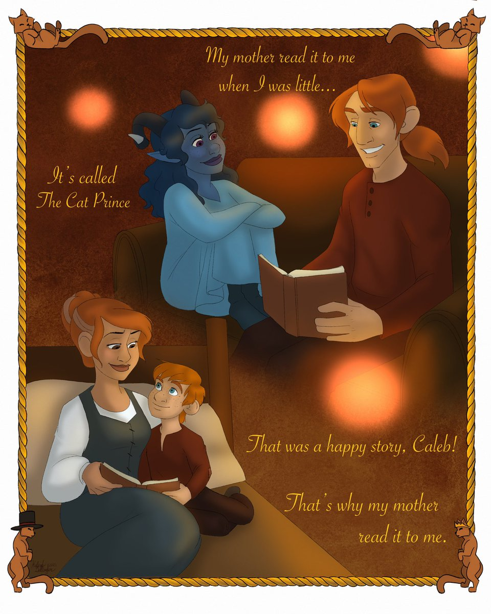 "Inspiration struck recently and I had to draw Caleb reading ""Der Katzenprinz"" to Jester, quickly followed up by ""what if I also draw Caleb's mom reading it to him!"" So here's the scene beautifully RPed by @LauraBaileyVO and @VoiceOfOBrien #criticalrolefanart #criticalrole"