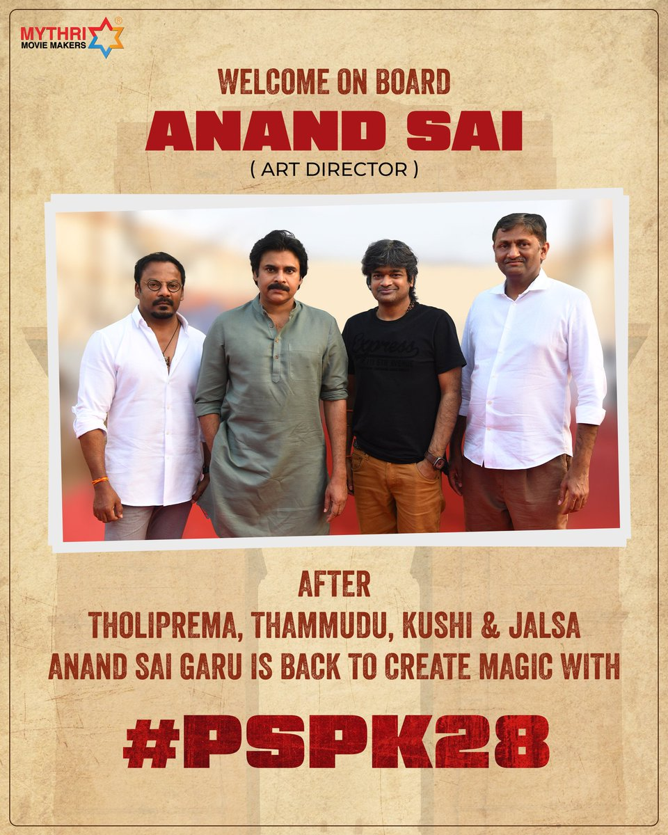 Magnificent Art Director Anand Sai garu is back to Cinema after dedicating his 5 years of craftsmanship for Yadadri Temple - The Pride of Telangana!  Welcome on board Anand Sai garu for #PSPK28 💥💥  Power Star @PawanKalyan @harish2you @ThisIsDSP @DoP_Bose
