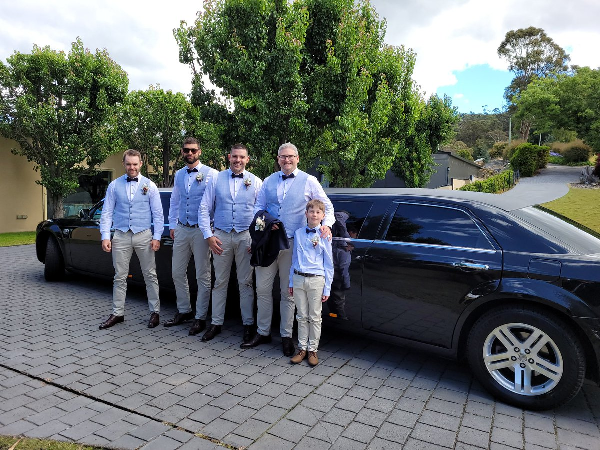 12/2/2021 congratulations to Tom & Genna on their wedding at @glenalbynestate arrived in our Black Chrysler stretch limousine @HobartLimo #wedding #groom #groomsmen #fridaywedding #hobart #limo #stretchlimo #chrysler