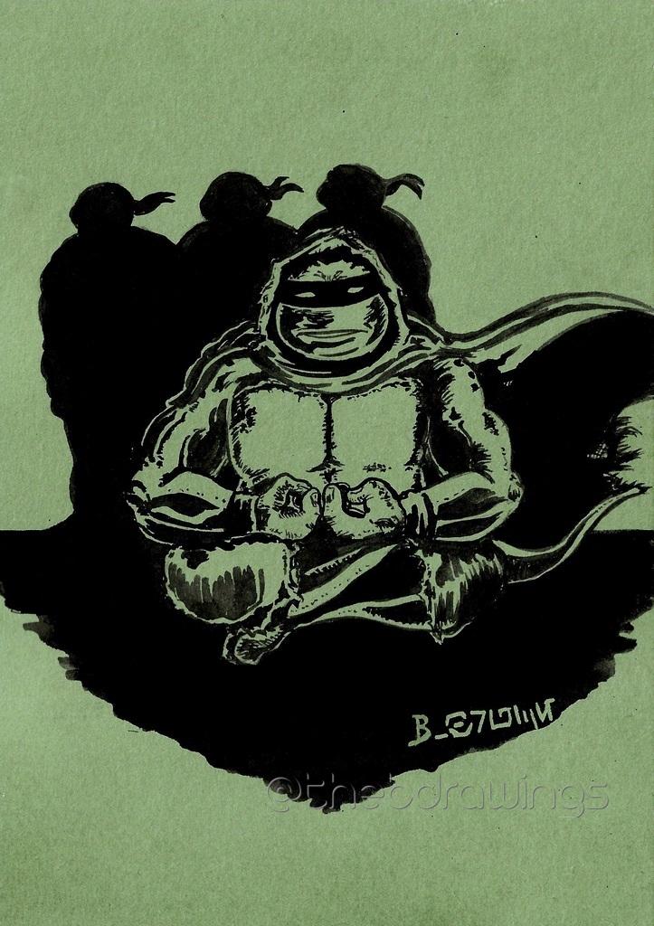"""The Last Ronin. Illustration au pinceau réservoir et à l'encre noire @rougier_ple  sur  papier Paint On A5 """"Vert de Gris"""" de @ClairefontaineT , inspirée par la lecture de la sublime issue n°2 de #TMNT #TheLastRonin . @IDWPublishing @kevineastman86 @TomWaltz @TMNT #Drawing #inking"""