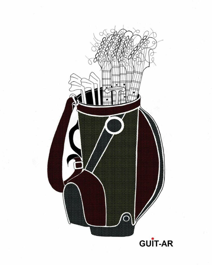 Golf'n Roll by Juan Ponte  Golf #golfbag #golfclubs #creative #art #artist  #contemporaryart #sketch #illustration #drawing #cartoon  #popart  #guitar #guitardrawing  #guitarbyjuanponte #juanponte  #stratocaster #fender #drawingoftheday #onedrawingaday
