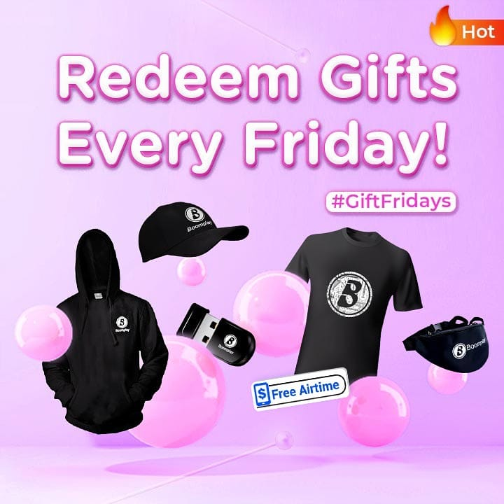 """.#GiftsFriday is almost here! Seize the time to earn reward points and redeem fabulous gifts on #boomplay """"Reward Points"""" page!  #HomeOfMusic #Trending #TrendingNow #TrendingMusic #PlayKE #AfricanMusic #MusicLovers #Friday #FridayVibes #Gifts #RewardPoints #BoomplayGiveaway"""