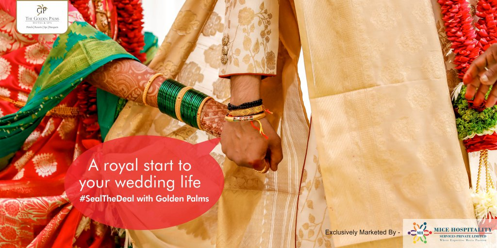 Book your slot today. #SealTheDeal  #MiceToMeetYou  Exclusively Marketed by Mice Hospitality Services Pvt. Ltd For more information, visit:   #GoldenPalmsHotelAndSpa #Tourism #WeddingSeason #Wedding #SpecialPackage #Packages #FestiveSeason #Festive