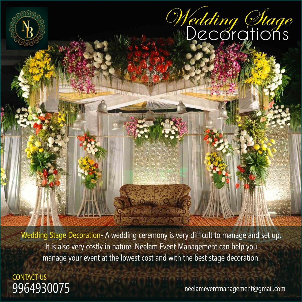 Wedding stage decorations... A wedding ceremony is very difficult to manage and setup. For wedding decorations call to- 9964930075. #wedding #weddingstage #weddingday #weddingdecorations #neelamevents #eventplanner #event #planners