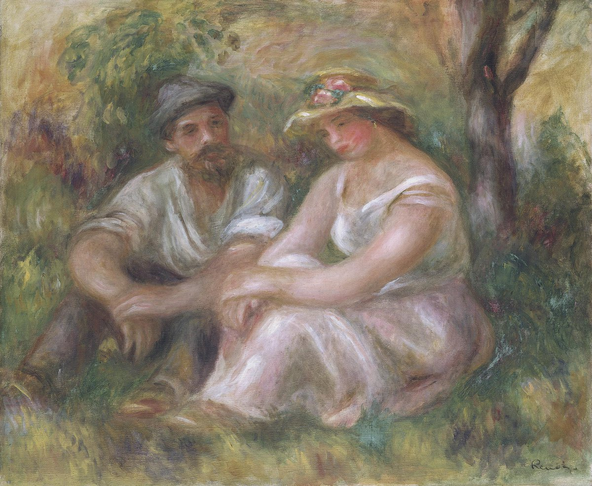 🎈 Born #OTD in 1841: Pierre-Auguste Renoir  How we wish we could escape into this painting...  This work was probably painted in the garden of the house at Essoyes in Burgundy where Renoir spent his summers from 1898. Its warm palette is typical of Renoir's late style