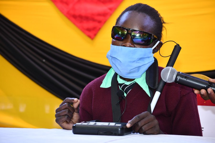 Susan Akuya demonstrates the use of the Orbit Reader at the KBTA Orbit Reader-20 donation. KBTA aims at providing digital literacy and skills to visually impaired learners in East Africa and Malawi.