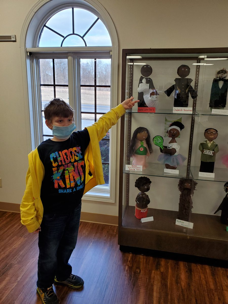 My son's bottle buddy of Martin Luther King, Jr. ended up on display at the local library. He was very excited to see his work there! #MartinLutherKing #BlackHistoryMonth @TweetDCS_WES