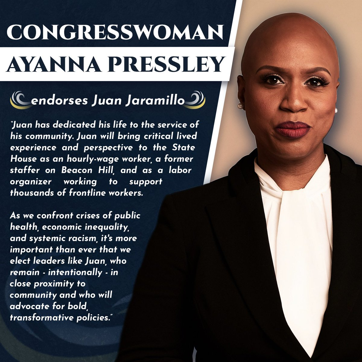 I am inspired daily by how Congresswoman @AyannaPressley represents her communities w/ moral clarity in Congress & am deeply humbled by her support. This endorsement reflects our campaign's commitment to the working families of Revere & Winthrop. Pitch In: