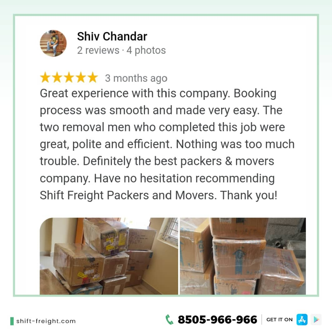 Reviews! Glad to serve our customers. To book our services and to know more details, click here -   #moversandpackers #shiftingservices #Packers #Movers #Hirepackersmovers #BestshiftingCompany #DiscountCode #Offers #MovingServices #PackingServices