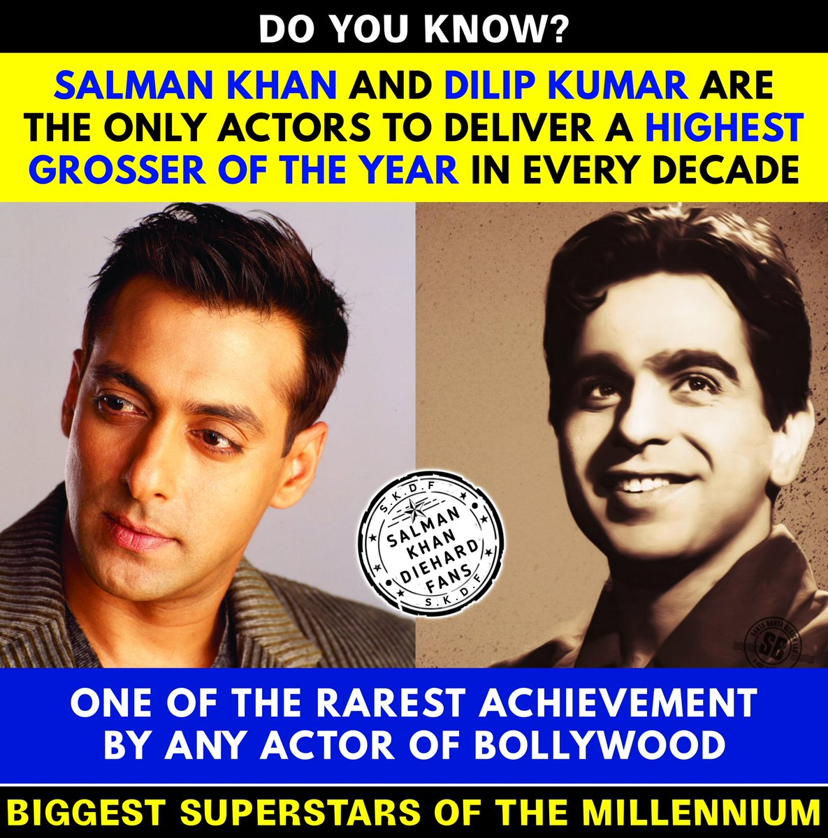 Do You Know. . . . #SalmanKhan and #DilipKumar are The Only Actors To Deliver a Highest Grosser Of The Year in Every Decade. . . . One of the rarest achievement by any actor of Bollywood ✨✨✨✨ Biggest Superstars Of The Millennium 💘