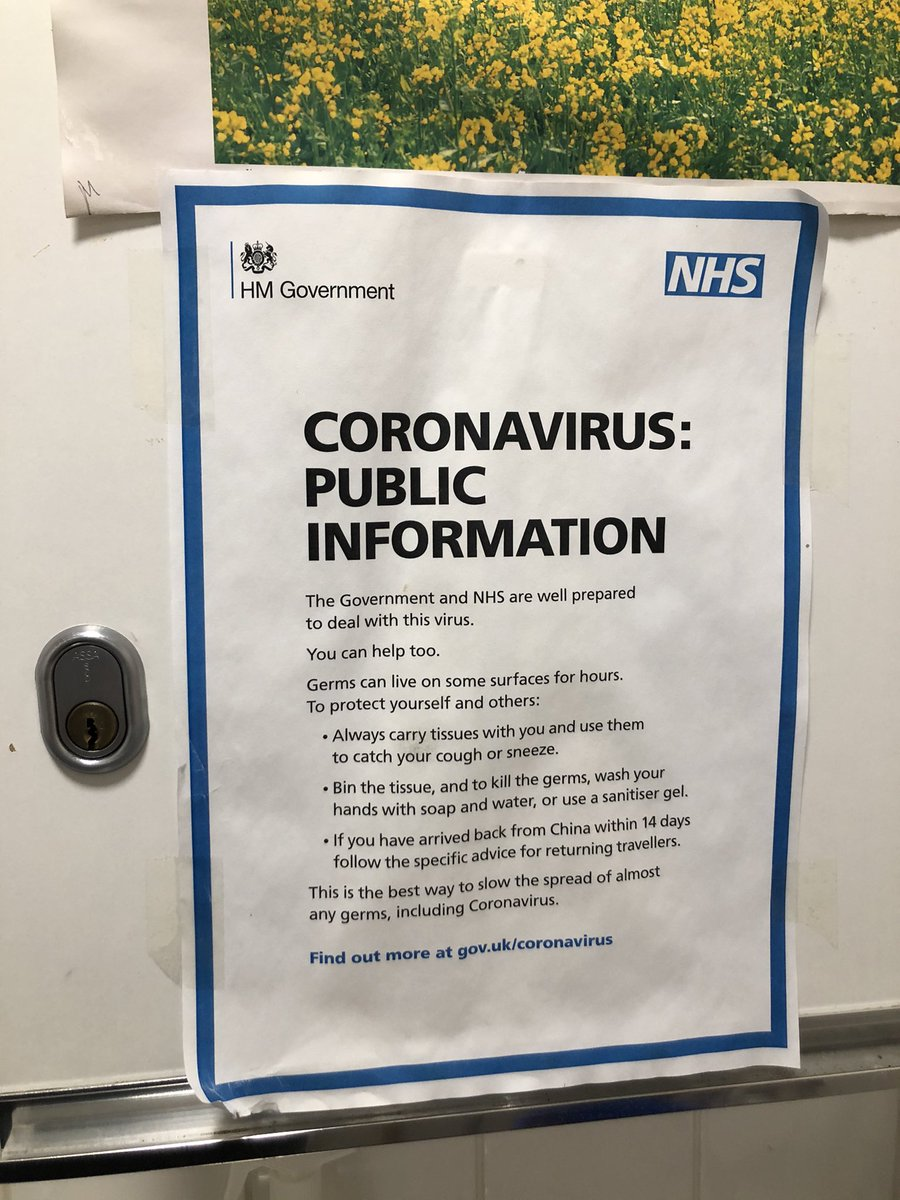 """Just noted this in the office kitchen, presumably from a year ago. Like something from the archives: """"government and NHS are well prepared"""", make sure to clean surfaces & sneeze into tissues, follow some rules if you just got back from China. Don't worry, everything's fine 😬"""