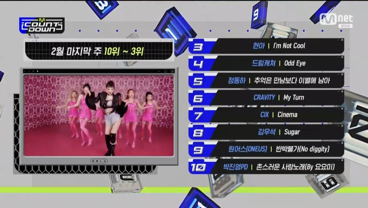 [M Countdown Top 10]  #3 #HyunA  #4 #Dreamcatcher #OddEye  #5 #JungDongHa  #6 #Cravity  #7 #CIX  #8 #KimWooSeok  #9 #ONEUS #NoDiggity  #10 #JYPxYoyomi