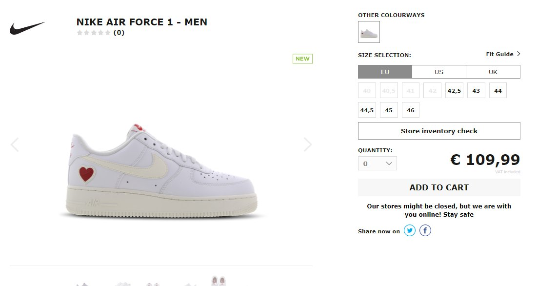 Restock via Sidestep: Nike Air Force 1