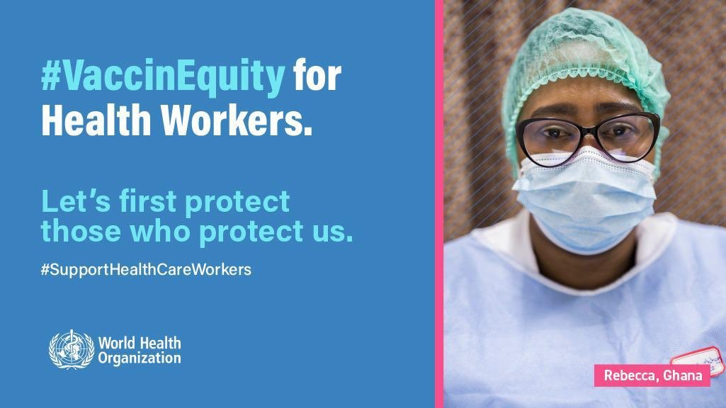 @UNDP stands with @WHO in calling on global, national & local leaders to accelerate #VaccinEquity in every country, starting with health workers and those at highest risk for #COVID19. There is no time to lose    Join us: https://t.co/wcYxBWTPEE    #VaccinEquity #ACTogether https://t.co/98hiTZWCd8