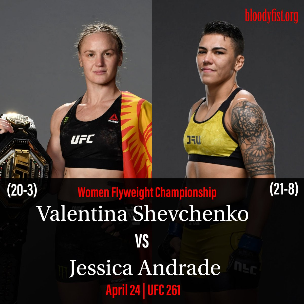 @BulletValentina to face @jessicammapro on 24th April, 2021.   Who you got 🔥🔥🔥???  #whoyougot⁉️ #UFC261 #USA #shevchenko #jessicaandrade #mma #ufc #boxing #bjj #muaythai #kickboxing #jiujitsu #fitness #martialarts #wrestling #fight #grappling #karate #fighter #training #bhfyp