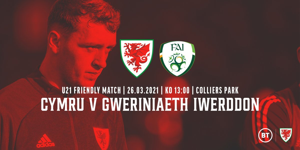 🏴󠁧󠁢󠁷󠁬󠁳󠁿 CYHOEDDIAD GÊM D21 🏴󠁧󠁢󠁷󠁬󠁳󠁿  The first time Cymru will face @FAIreland at U21 level!  Fans will be able to watch the match live on FAW channels.  #TogetherStronger