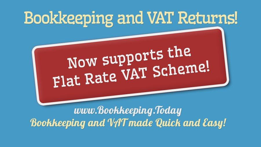 news: We support the Flat Rate VAT Scheme as well as standard VAT. From £5/month. - try now Free for 30 days!   #MTD #MakingTaxDigital #VAT #bookkeeping #flatrate #Software #thursdaymorning