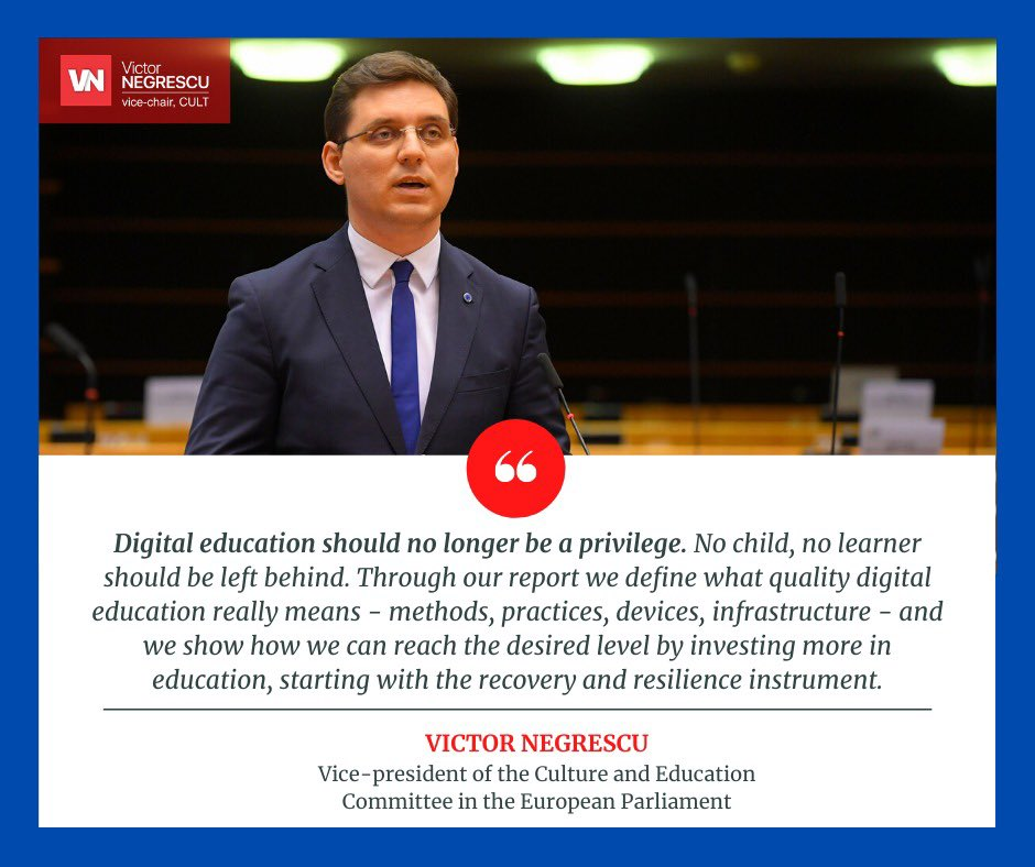 Full support from @EPCulture for my report on shaping a European digital education policy! 26 votes in favour and no votes against. Great result showing that digital education should not be a privilege anymore. No children should be left behind! Equity in digital education.