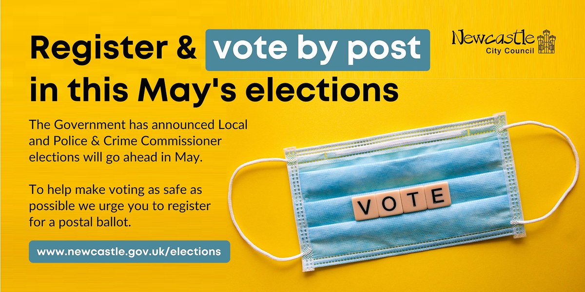 The #LocalElections will go ahead in #Newcastle this May & preparations are on track to allow that in a #Covid secure way - But you can also help keep people safe by registering to #vote by post. Find out more at orlo.uk/HZcNT #YourVoteMatters #GetReadyToVote