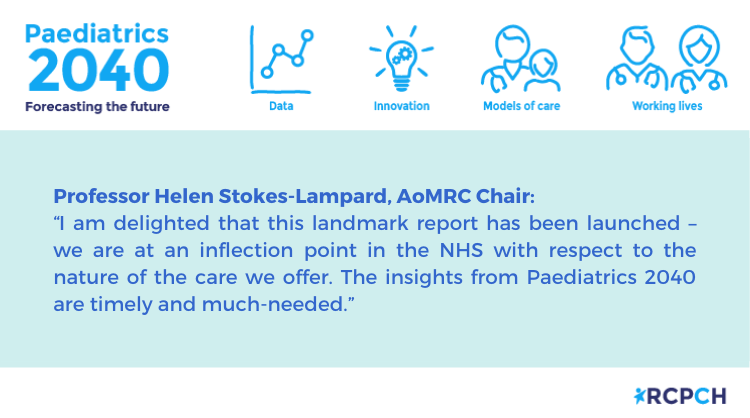 We are delighted to have @HelenStokesLam joining us tomorrow for the launch event to celebrate our #Paediatrics2040 project. Last chance – registration closes 5pm today. rcpch.ac.uk/news-events/ev…