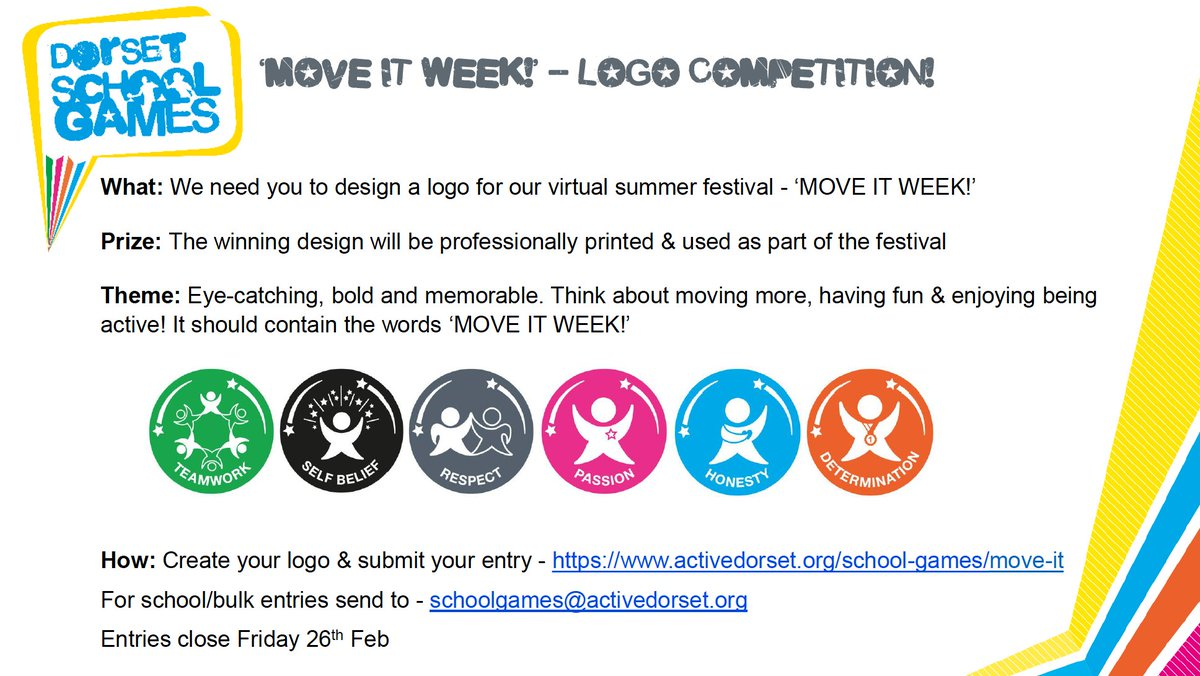Entries for the #DorsetSchoolGames logo competition close tomorrow!  Don't miss out, share your entry with us here; https://t.co/Ry9Wsh7Br2  #MoveItWeek #YourSchoolGames #VirtualSummerFestival #SchoolGames