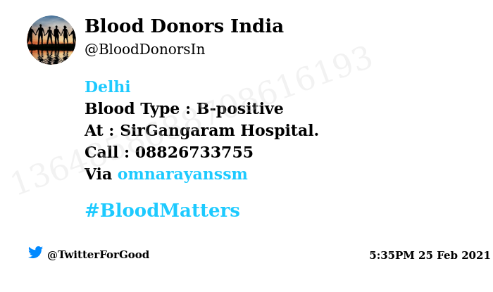 #SOS #Delhi Need #Blood Type :  B-positive At : SirGangaram Hospital.  Blood Component : Blood Number of Units : 4 Primary Number : 08826733755 Via: @omnarayanssm #BloodMatters Powered by Twitter