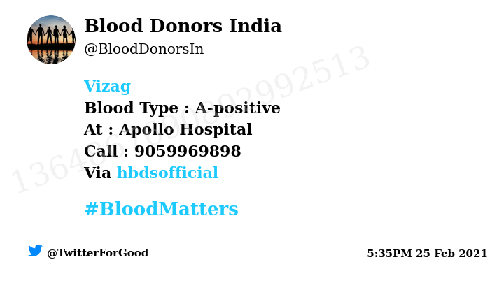 #Vizag Need #Blood Type :  A-positive At : Apollo Hospital  Blood Component : Blood Number of Units : 2 Primary Number : 9059969898 Via: @hbdsofficial #BloodMatters Powered by Twitter
