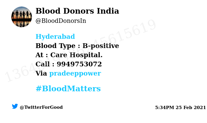 #Hyderabad Need #Blood Type :  B-positive At : Care Hospital.  Blood Component : Blood Number of Units : 3 Primary Number : 9949753072 Via: @pradeeppower #BloodMatters Powered by Twitter
