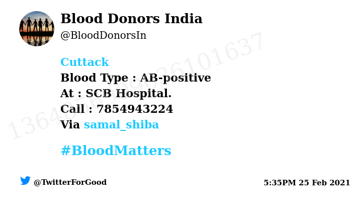 #Cuttack Need #Blood Type :  AB-positive At : SCB Hospital.  Blood Component : Blood Number of Units : 5 Primary Number : 7854943224 Via: @samal_shiba #BloodMatters Powered by Twitter