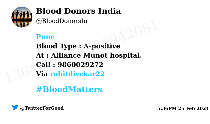 #Pune Need #Blood Type :  A-positive At : Alliance Munot hospital. Blood Component : Need Plasma from A+ve #COVID19 recovered patient. Number of Units : 2 Primary Number : 9860029272 Via: @rohitdivekar22 #BloodMatters Powered by Twitter
