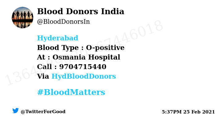 #Hyderabad Need #Blood Type :  O-positive At : Osmania Hospital  Blood Component : Blood Number of Units : 2 Primary Number : 9704715440 Via: @HydBloodDonors #BloodMatters Powered by Twitter
