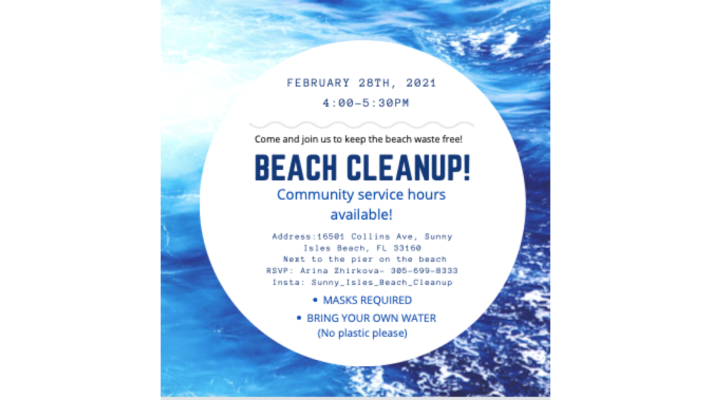 If you're in #Miami-Dade #Florida this Sunday 28th. Join the Sunny Isles #Beach Cleanup team for a cleanup at 4:00PM. What3words address: //swallow.hardly.roulette.  Head to  for more info.